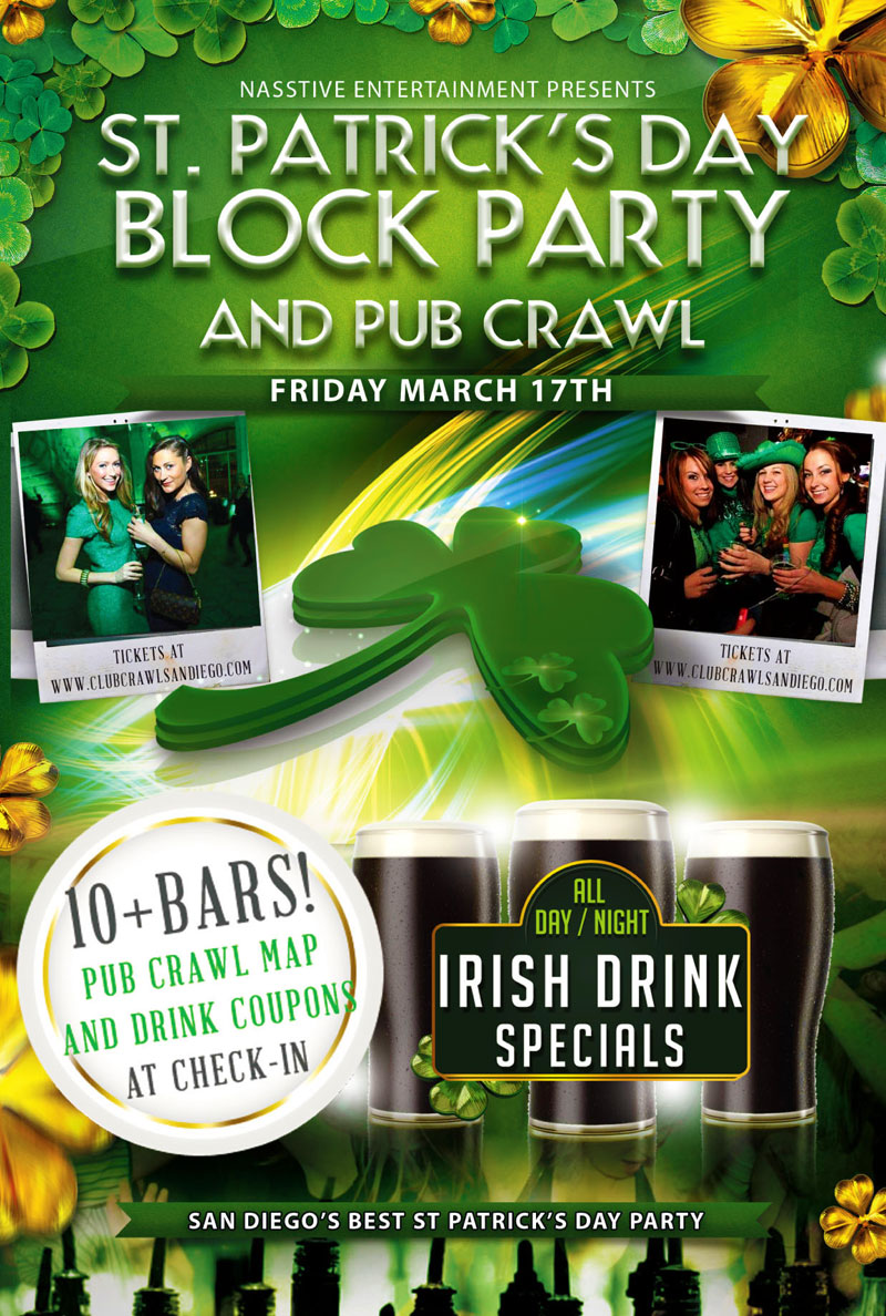 St. Patricks Day Pub Crawl - San Diego - 10+ Bars, Drink Specials